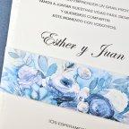 Invitación de boda flores óleo Cardnovel 39305 detalle