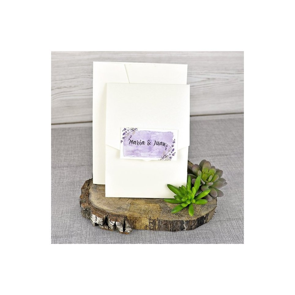 Invitación de boda nombres violeta Cardnovel 39311