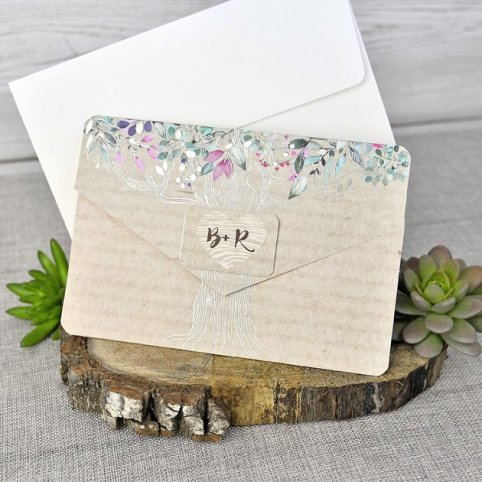 Invitación de boda nombres árbol Cardnovel 39303