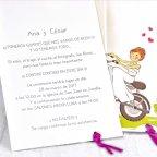 Invitación de boda novios moto, Cardnovel 39132 texto