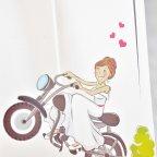 Invitación de boda novios moto, Cardnovel 39132 detalle