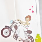 Motorcycle Boyfriends Wedding Invitation, Cardnovel 39132 detail