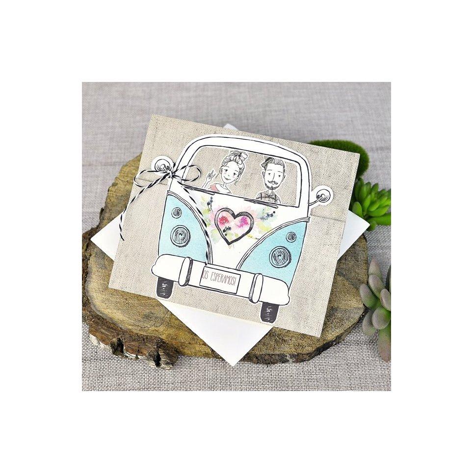 Invitación de boda novios furgoneta Cardnovel 39316