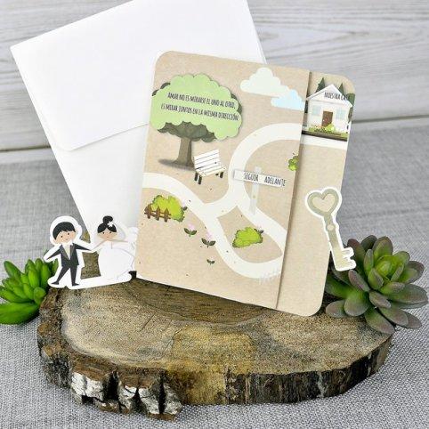 Invitación de boda novios camino Cardnovel 39301