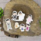 Wedding invitation bride and grooms on Cardnovel 39301 figures