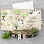 Wedding invitation bride and groom on Cardnovel 39301 open