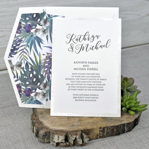 Invitación de boda tropical Cardnovel 39343