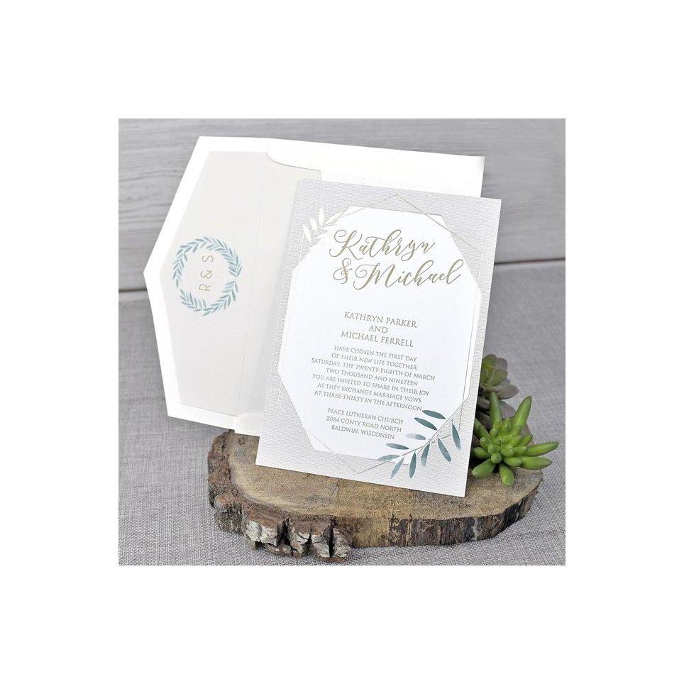 Invito a nozze verde oliva Cardnovel 39344
