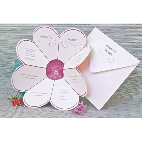 Invitación de boda pétalos corazón, Edima 100.662