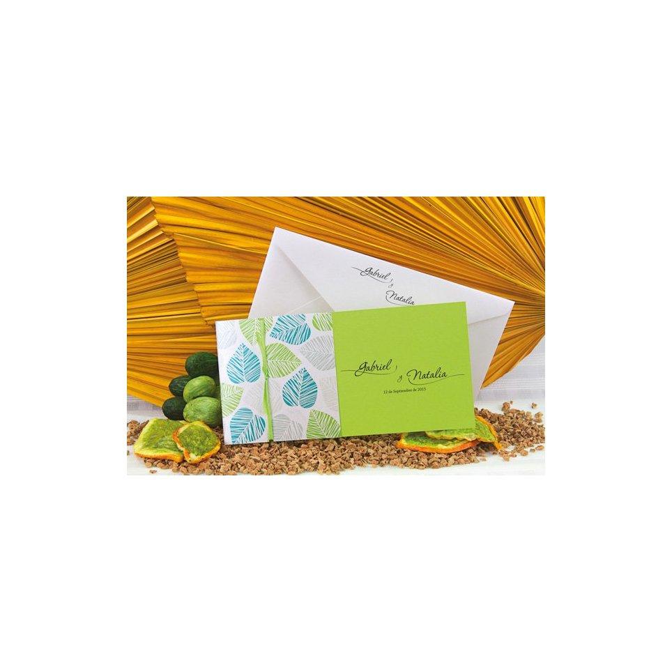 Wedding Invitation Green Leaves Edima 100,664 lying down