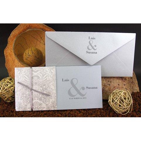 Invitación de boda flor plata, Edima 100.521