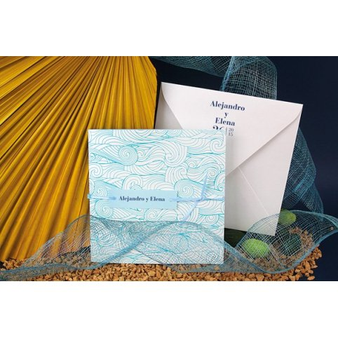 Blue Wave Wedding Invitation Edima 100,668