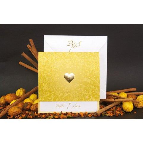 Gold Heart Wedding Invitation Edima 100,672