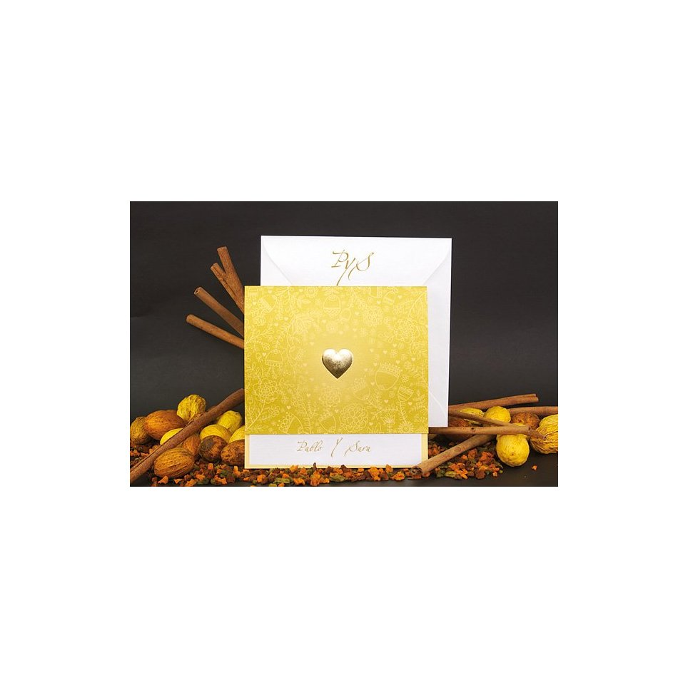 Invitación de boda corazón oro Edima 100.672