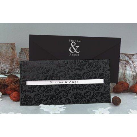 Classic noir wedding invitation Edima 100,514