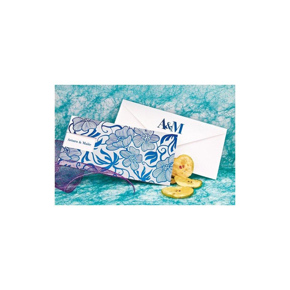 Invitación de boda flores azul Edima 100.661
