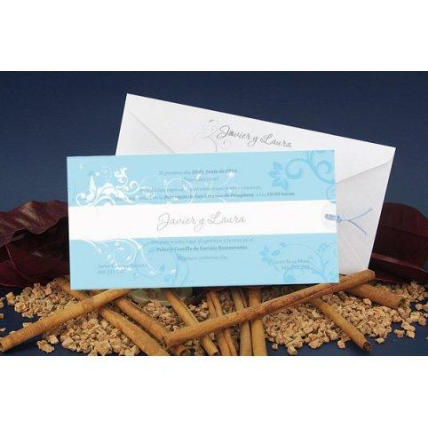 Invitación de boda azul blanco Edima 100.669