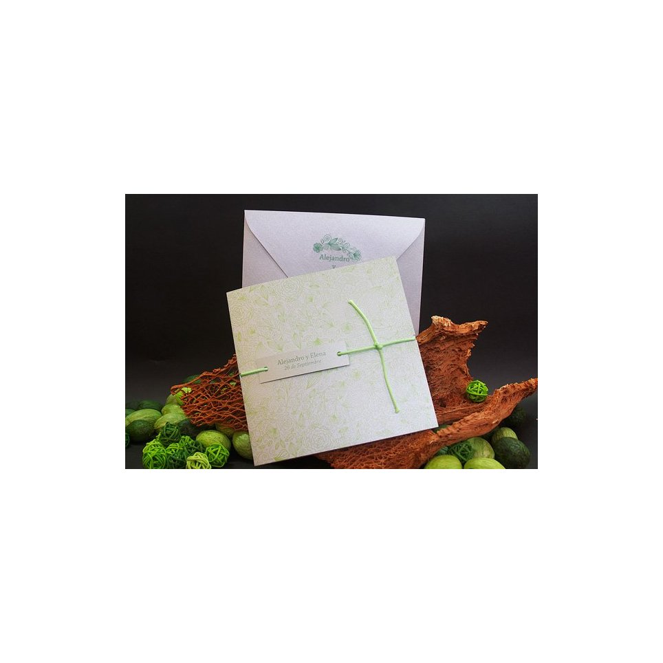 Silver and Green Wedding Invitation Edima 100,674