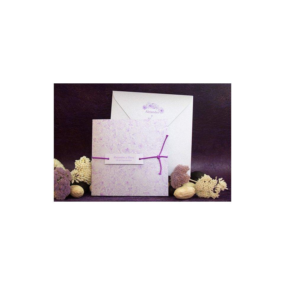 Invitación de boda plata y morado Edima 100.675