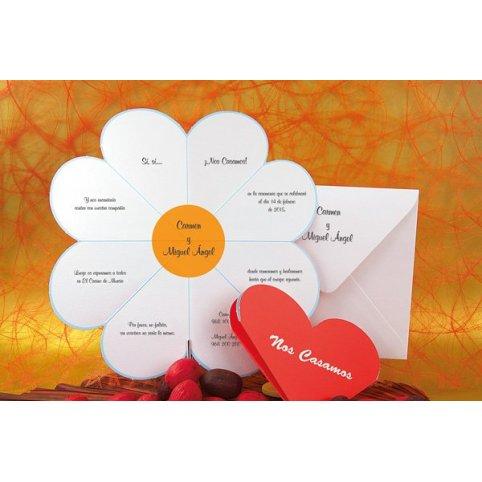 Invitación de boda corazón margarita Edima 100.330