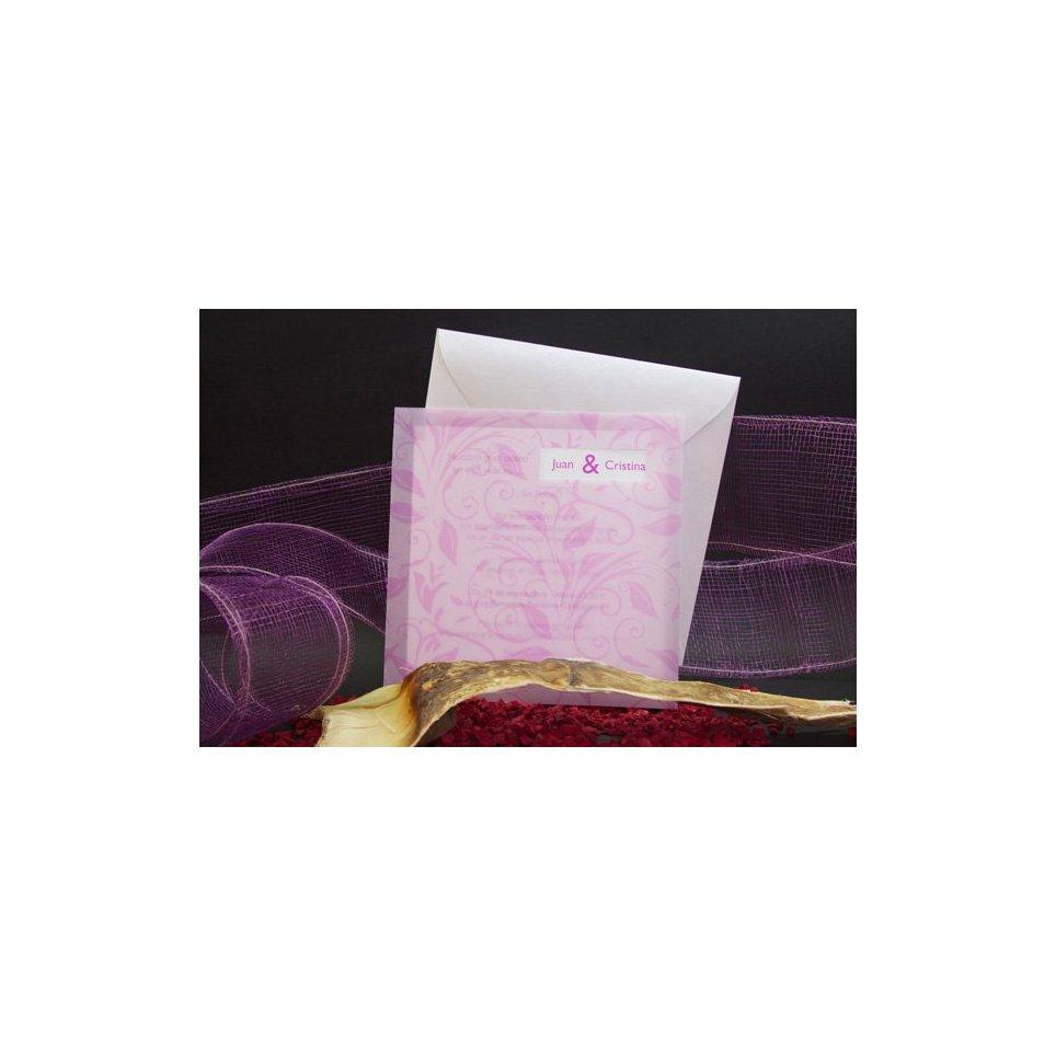 Purple Flowers Wedding Invitation Edima 100,505