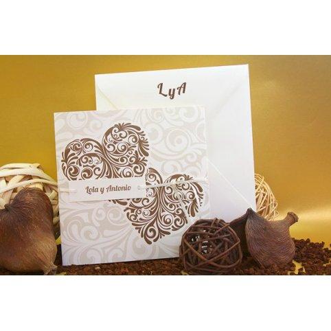 Braunes Herz der Hochzeitseinladung Edima 100.682