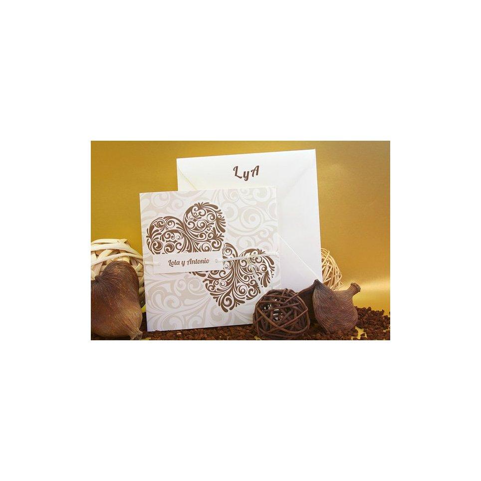 100 Edima ,682 Brown Heart Wedding Invitation