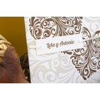 Invitación de boda corazón marrón detalle Edima 100.682