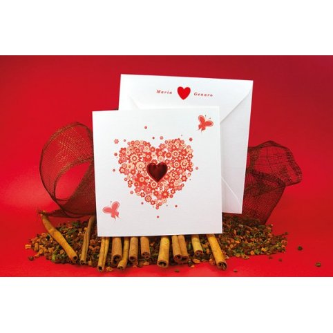 Invitación de boda corazón flores Edima 100.512