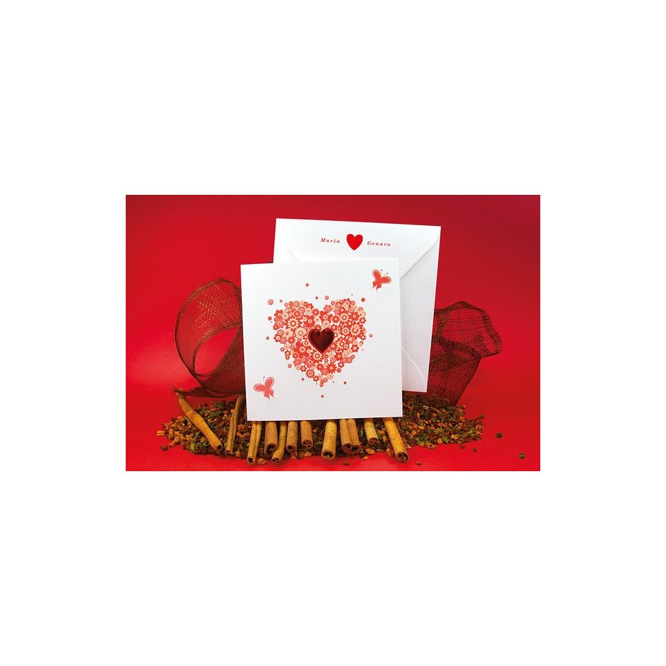 Invito a nozze cuore fiori Edima 100.512