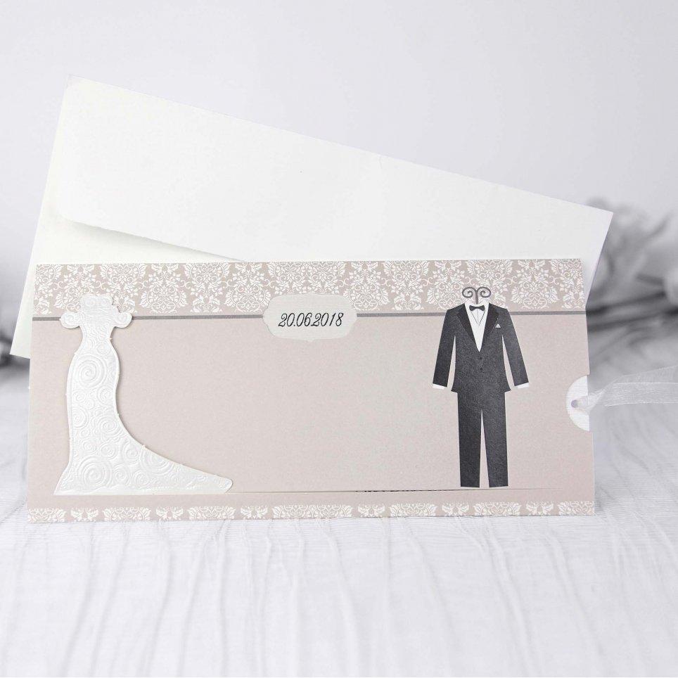 Invitación de boda novios maniquí Cardnovel 39205