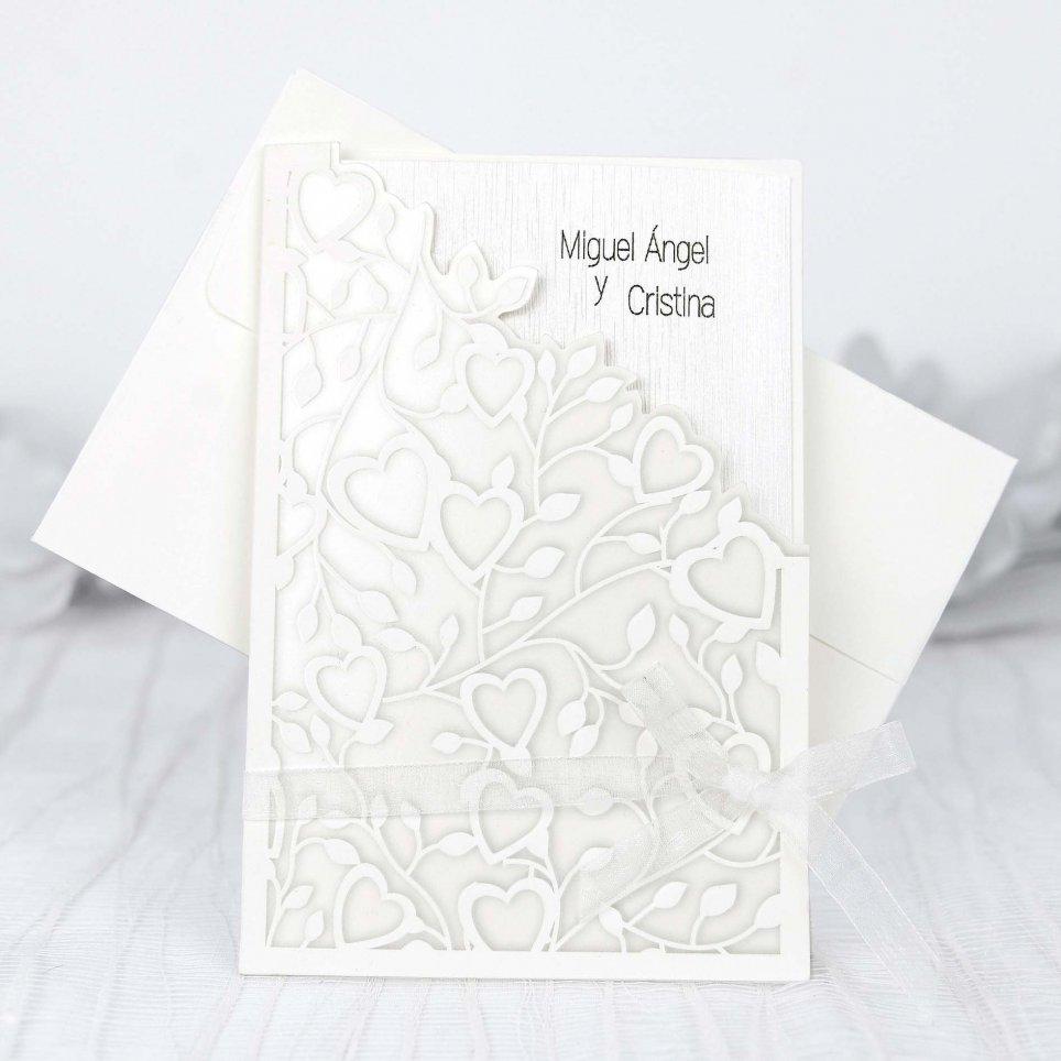 Invitación de boda corazones plata Cardnovel 39226
