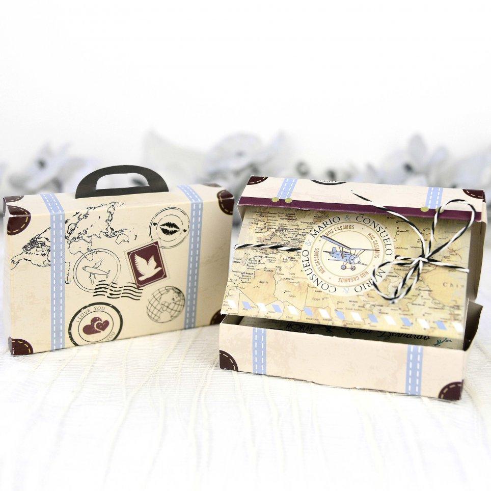 Invitación de boda maleta viaje Cardnovel 39223