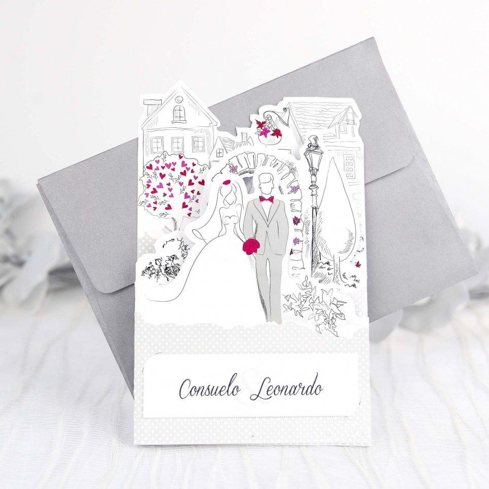 Invitación de boda novios viñetas Cardnovel 39238