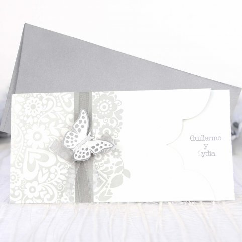 39222 Silver butterfly wedding invitation Cardnovel