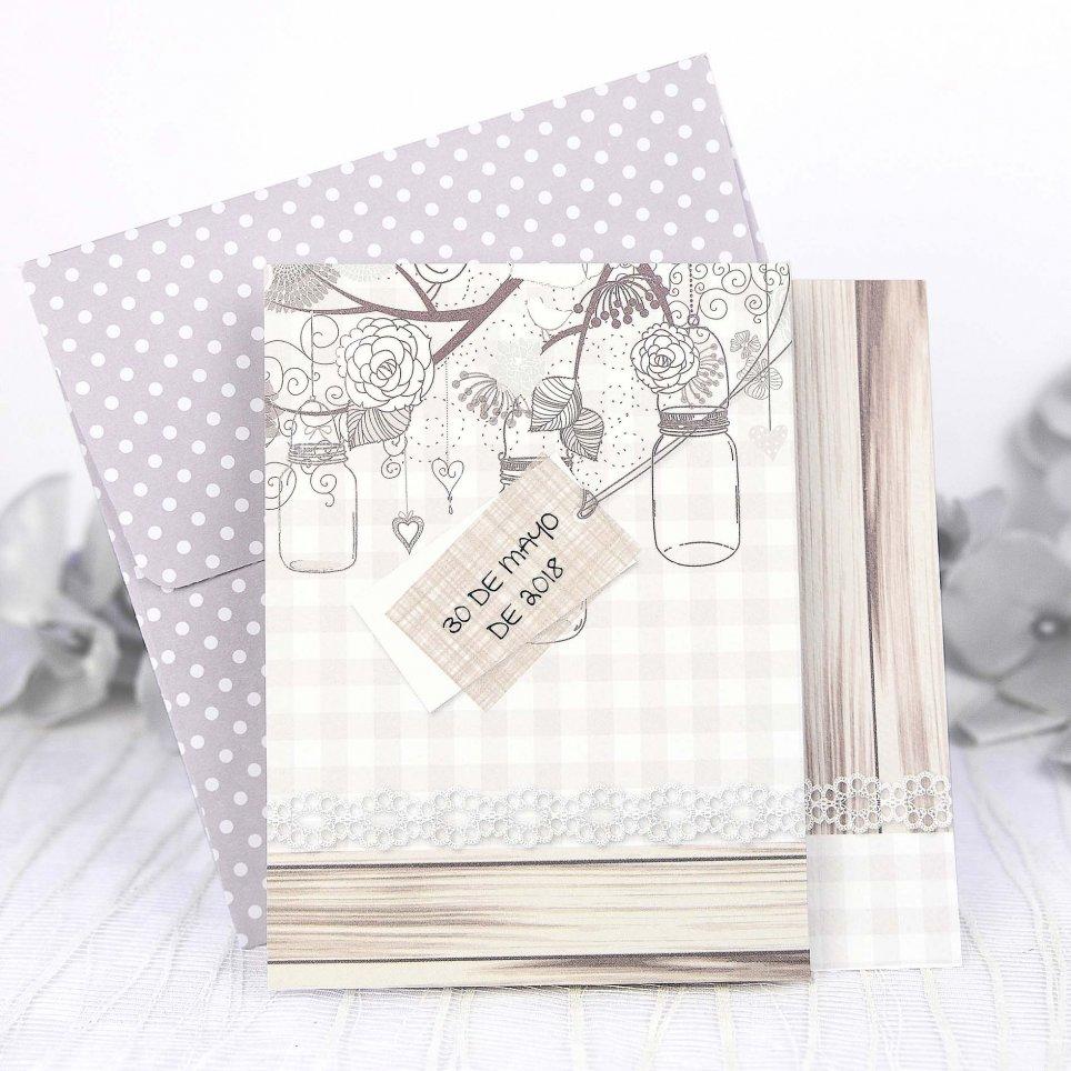 Invitación de boda tarros Cardnovel 39235
