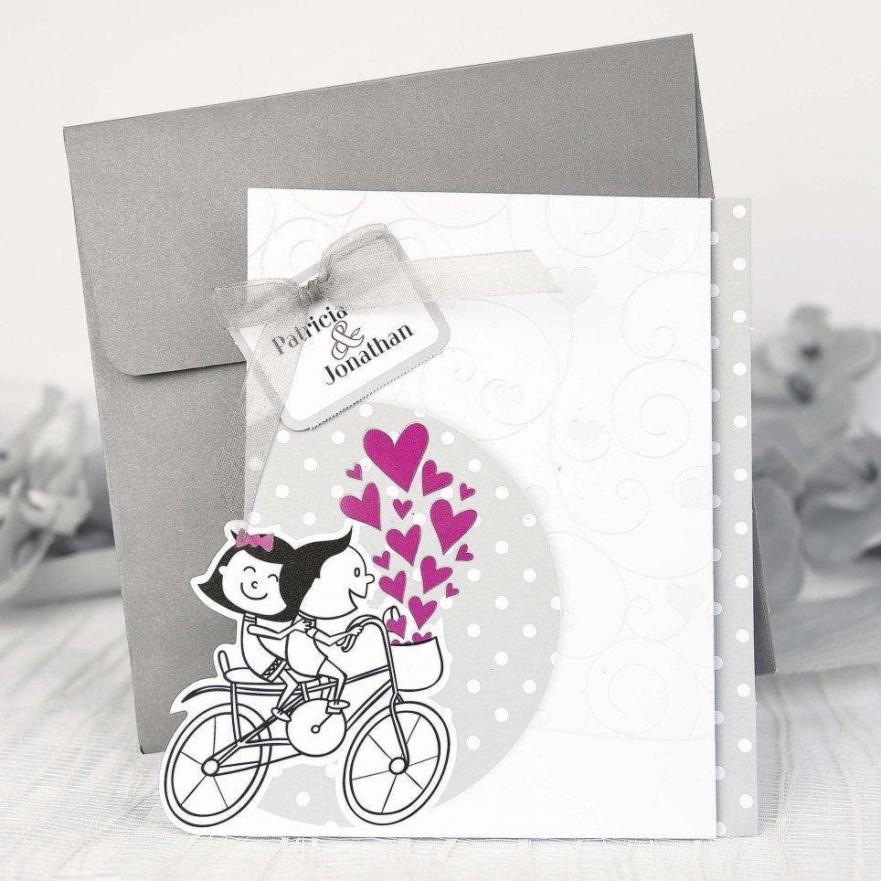 Invitación de boda novios bici Cardnovel 39210