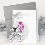 Invitación de boda novios bici, Cardnovel 39210
