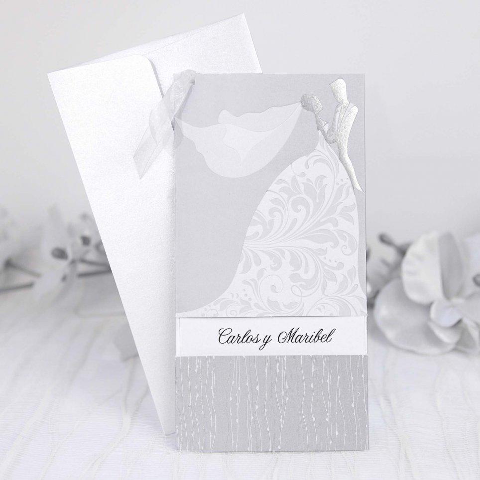 Silberne Braut und Bräutigamhochzeitseinladung Cardnovel 39214