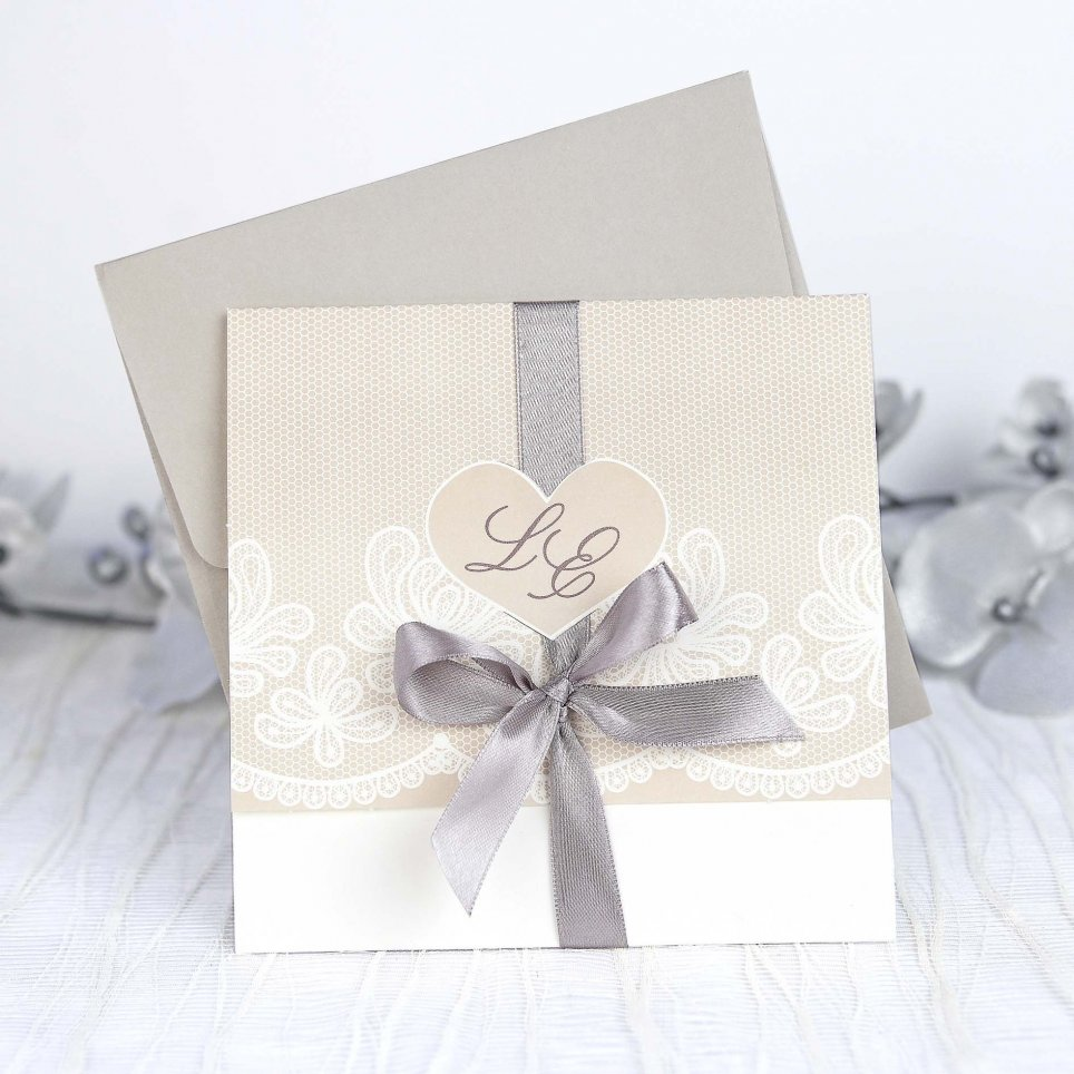 Wedding Invitation Heart Bow Cardnovel 39204