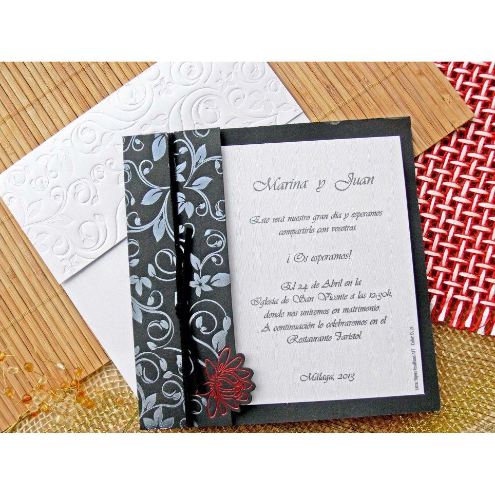 Cardnovel silberne schwarze Hochzeitseinladung 32726