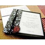 Partecipazione matrimonio nero argento Cardnovel 32726 dettaglio