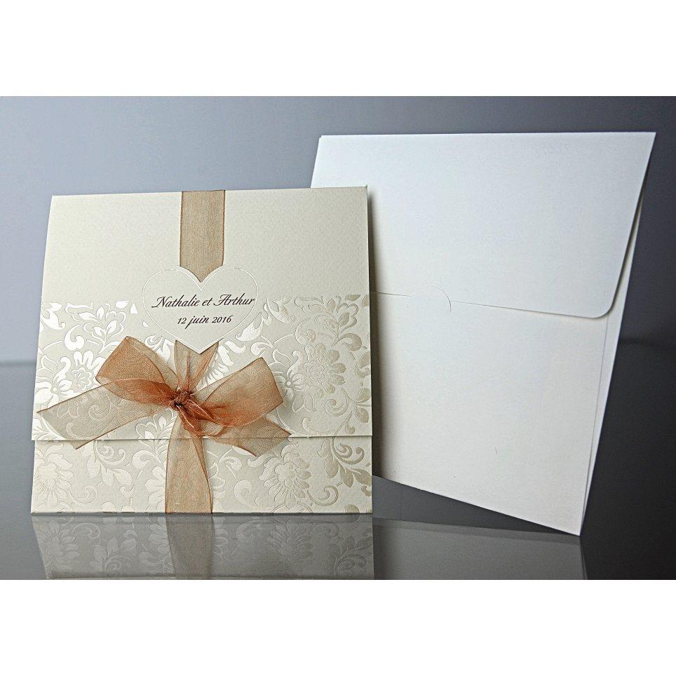 Invitación de boda corazón crema Cardnovel 34934