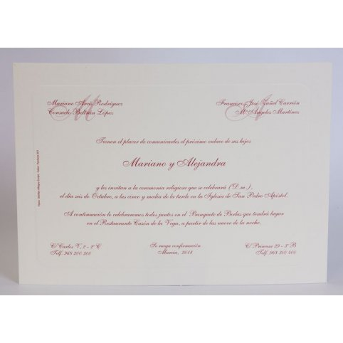 Edima 100.324 Granat klassische Hochzeitseinladung