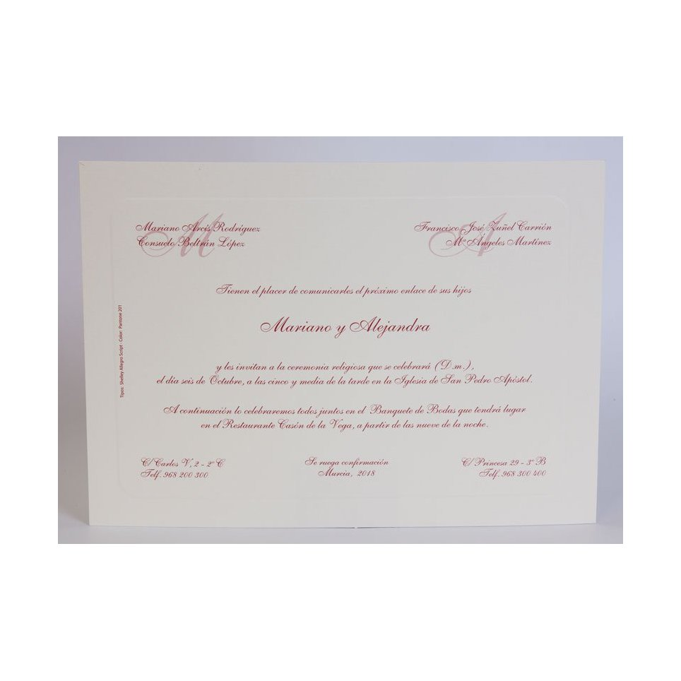Invitación de boda clásica granate Edima 100.324