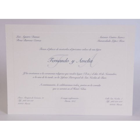 Classic Wedding Invitation Medium Blue Edima 100,545