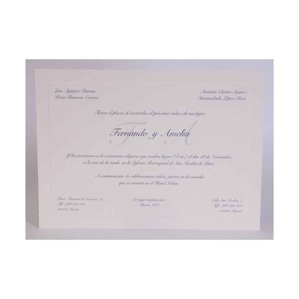 Classic Wedding Invitation Medium Blue Edima 100,545