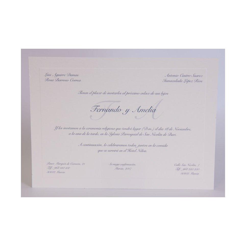 Invitación de boda clásica azul mediana Edima 100.545
