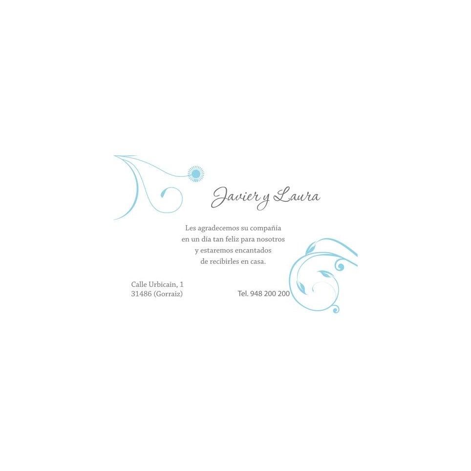 Tarjeta de agradecimiento azul blanco Edima 150.669