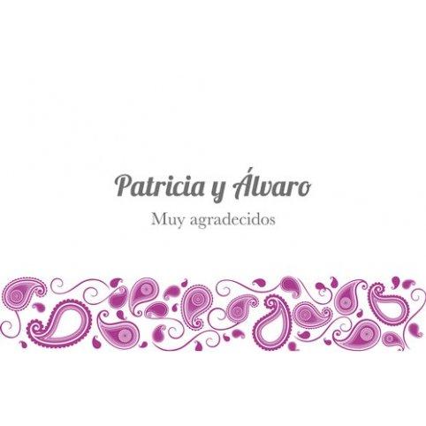 Tarjeta de agradecimiento violeta blanco Edima 150.671